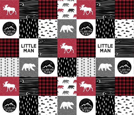 Happy Camper Quilt with Little Man Quilt Block fabric by littlearrowdesign on Spoonflower - custom fabric