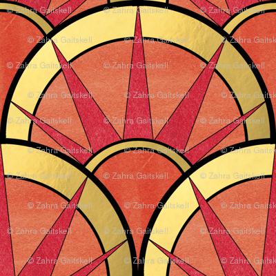 Fancy Art Deco Fan in Red and Orange