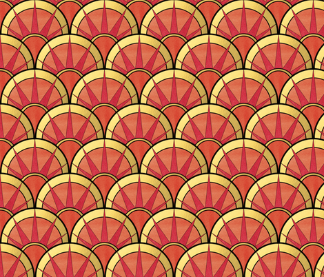 Fancy Art Deco Fan in Red and Orange fabric by suzzincolour on Spoonflower - custom fabric