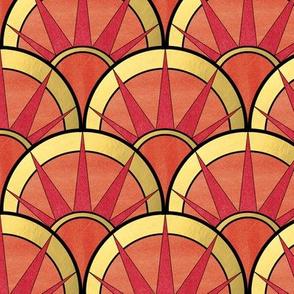 Fancy Fan in Red and Orange