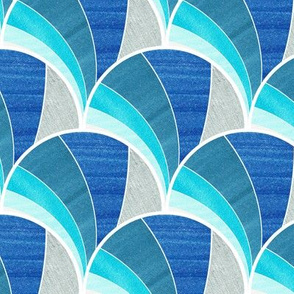 Warped Art Deco Fan in Blue Ombre