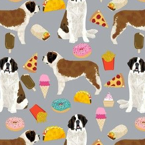 saint bernard dog fabric dogs and junk food designs tacos fries donuts - grey