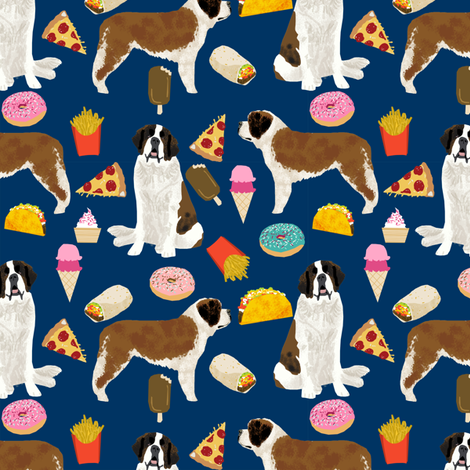saint bernard dog fabric dogs and junk food designs tacos fries donuts - navy fabric by petfriendly on Spoonflower - custom fabric