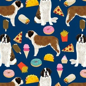 saint bernard dog fabric dogs and junk food designs tacos fries donuts - navy