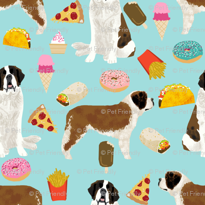saint bernard dog fabric dogs and junk food designs tacos fries donuts - blue