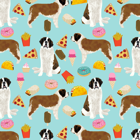 saint bernard dog fabric dogs and junk food designs tacos fries donuts - blue fabric by petfriendly on Spoonflower - custom fabric