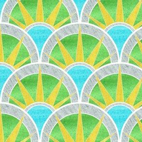 Fancy Art Deco Fan Pattern in Green and Silver