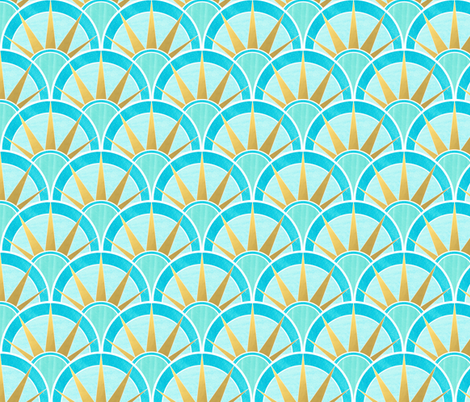 Blue and Green Art Deco Inspired Pattern with Gold fabric by suzzincolour on Spoonflower - custom fabric