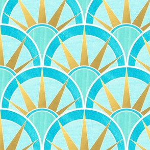 Blue and Green Art Deco Inspired Pattern with Gold