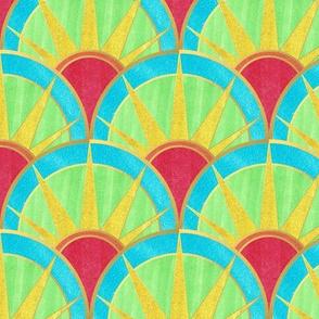 Fancy Rainbow Art Deco Pattern with Gold
