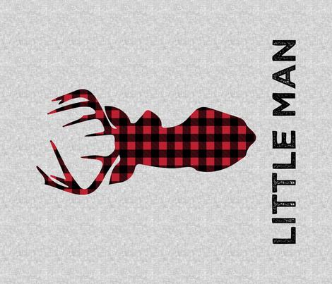 "large buck head with little man (light grey) - 42"" width fabric by littlearrowdesign on Spoonflower - custom fabric"