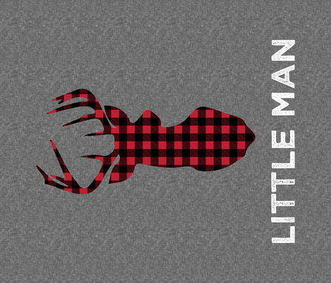 "large buck head with little man (dark grey) - 42"" width fabric by littlearrowdesign on Spoonflower - custom fabric"