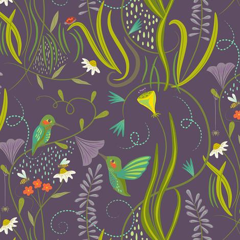 Hummingbirds_on_lilac fabric by johannaparkerdesign on Spoonflower - custom fabric