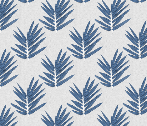 YUKI - blue bamboo leaves Japanese inspired fabric by christine_roehm_design on Spoonflower - custom fabric