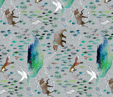 Song of the Yukon (railroad) fabric by nouveau_bohemian on Spoonflower - custom fabric