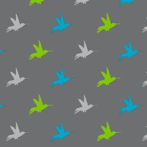 Hummingbirds - Lime, bright blue, grey