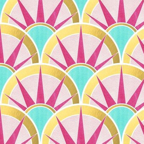 Fancy Art Deco Fan Pattern in Mint, Gold and  Magenta