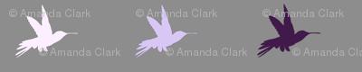 Hummingbirds- Purple, Lavender, Lilac on Grey/Gray - purple birds