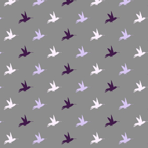 Hummingbirds- Purple, Lavender, Lilac on Grey/Gray - purple birds