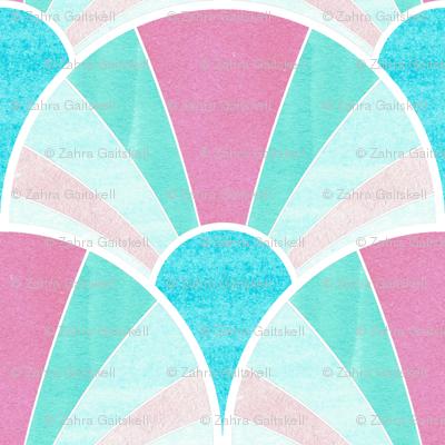 Flowing Art Deco Fan Pattern in Pink and Blue