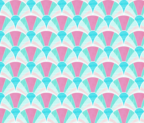 Flowing Art Deco Fan Pattern in Pink and Blue fabric by suzzincolour on Spoonflower - custom fabric