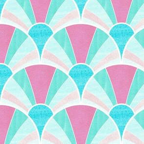 Flowing Art Deco Fan Pattern in Pink and Blue