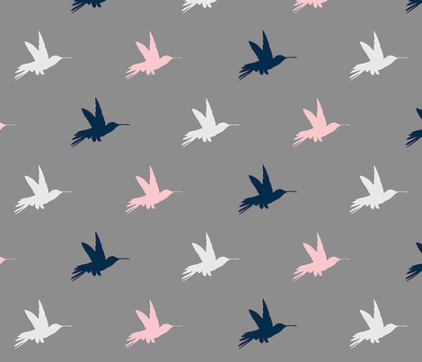 Hummingbirds- Navy, pink, white on Grey fabric by sugarpinedesign on Spoonflower - custom fabric