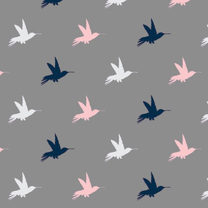 Hummingbirds- Navy, pink, white on Grey