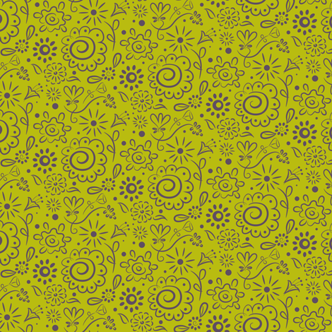 Wild_Floral_Doodle_chartreuse fabric by johannaparkerdesign on Spoonflower - custom fabric