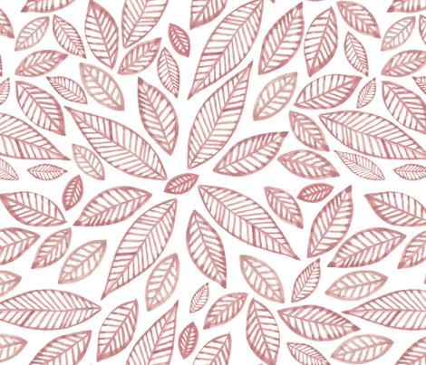 hojas pink fabric by marielatresoldi on Spoonflower - custom fabric