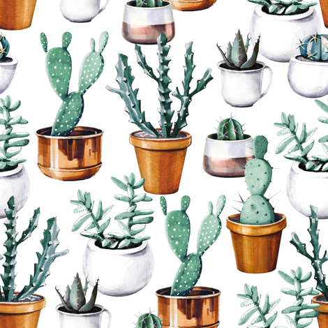 Cactuses in pots fabric by tasiania on Spoonflower - custom fabric