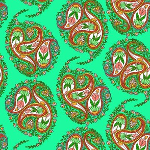 Springtime Floral Paisley on Green