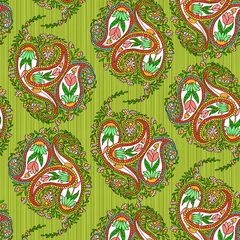 Springtime Floral Paisley on Green Stripes fabric by eclectic_house on Spoonflower - custom fabric