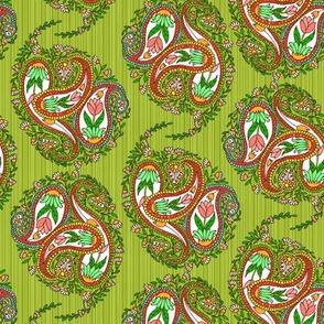 Springtime Floral Paisley on Green Stripes