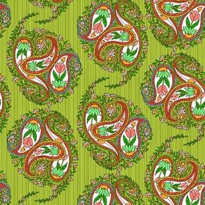 Springtime Floral Paisley on Green Stripes