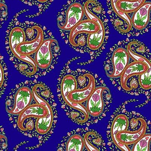 Springtime Floral Paisley on Royal Blue