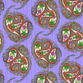 Springtime Floral Paisley on Violet Stripes