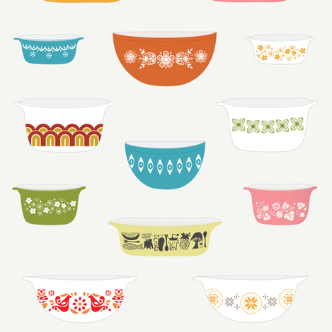 Vintage Pyrex fabric by calobeedoodles on Spoonflower - custom fabric