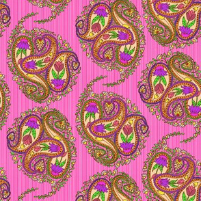Springtime Floral Paisley on Pink Stripes