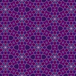 purple blue mosaic flowers