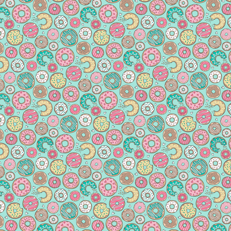 Donuts with Hearts Yellow, Green, Pink and Chocolate on Mint Tiny Small fabric by caja_design on Spoonflower - custom fabric