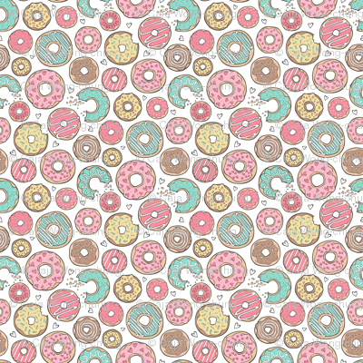 Donuts with Hearts Mint Green, Pink and Chocolate on White Tiny Small