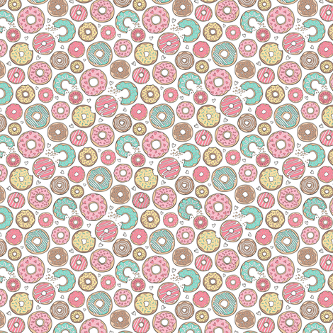 Donuts with Hearts Mint Green, Pink and Chocolate on White Tiny Small fabric by caja_design on Spoonflower - custom fabric