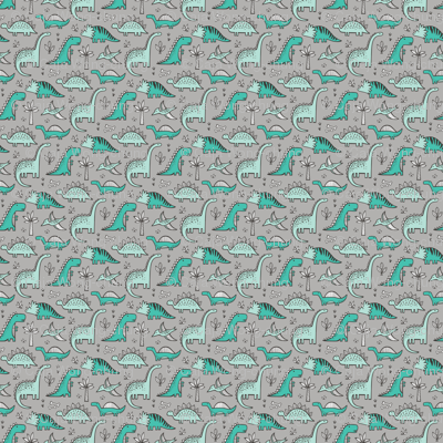 Dinosaurs on grey tiny small fabric caja design for Grey dinosaur fabric