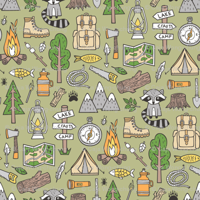 Outdoors Camping Woodland Doodle with Campfire, Raccoon, Mountains, Trees, Logs on Green Tiny Small