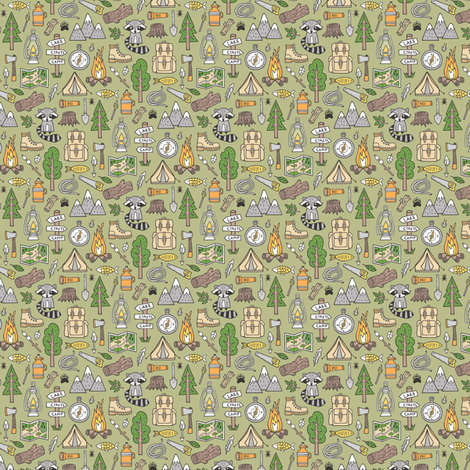 Outdoors Camping Woodland Doodle with Campfire, Raccoon, Mountains, Trees, Logs on Green Tiny Small fabric by caja_design on Spoonflower - custom fabric