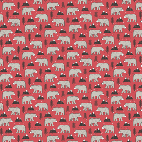 Mountain Bear  Woodland Forest Red Tiny Small fabric by caja_design on Spoonflower - custom fabric