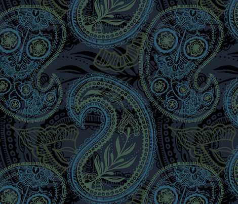 Paisley and Undines HUGE! fabric by penina on Spoonflower - custom fabric