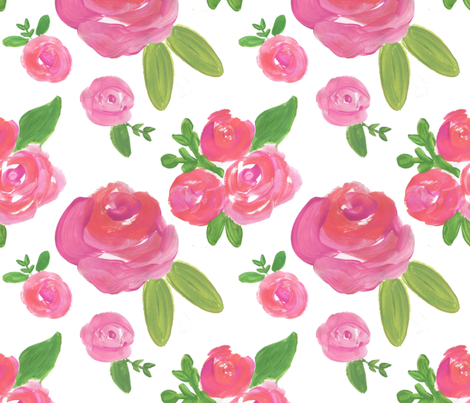 fuschia rose pink floral  fabric by smallhoursshop on Spoonflower - custom fabric
