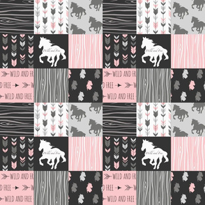 "3"" Horse Patchwork - Pink,  Black and Grey"